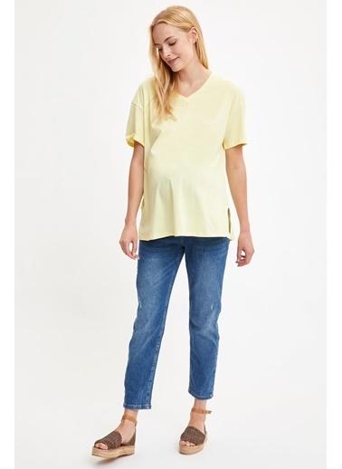 DeFacto Relax Fit Kısa Kollu Hamile T-Shirt Sarı